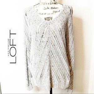 ANN TAYLOR LOFT Grey Open Weave Pullover Sweater
